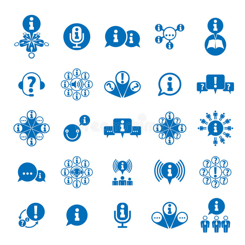 Informationen, die den Sammeln und Austauschthemaikonensatz, analysieren lizenzfreie abbildung