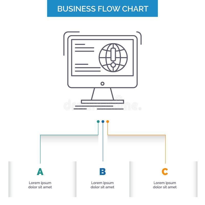 Informationen, Inhalt, Entwicklung, Website, Netz Gesch?fts-Flussdiagramm-Entwurf mit 3 Schritten Linie Ikone f?r Darstellungs-Hi stock abbildung