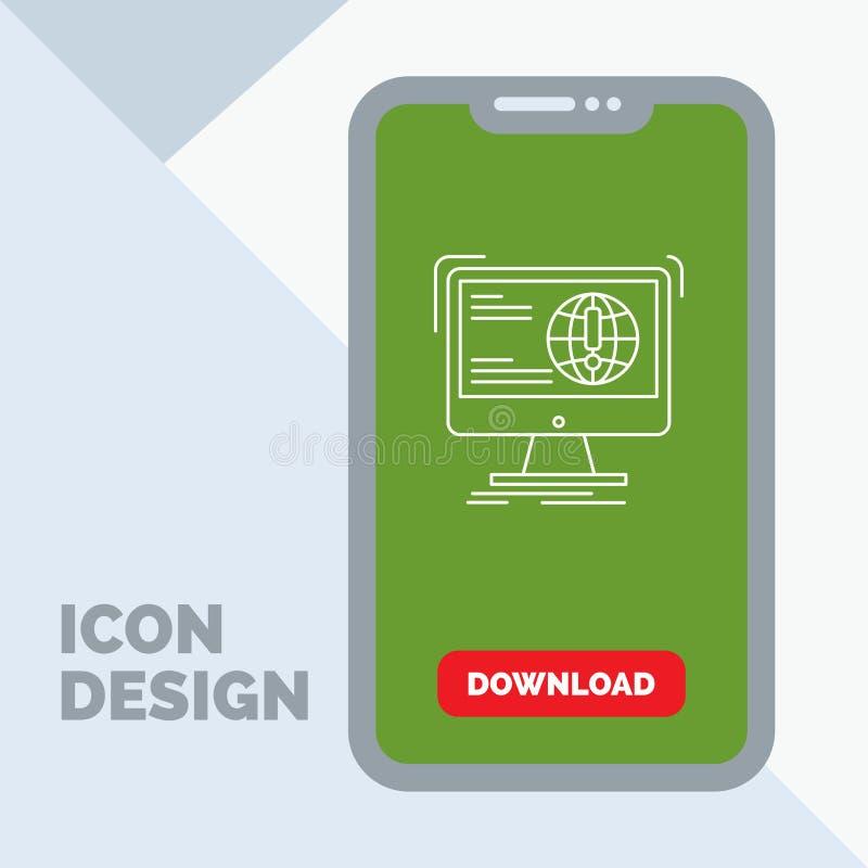 Informationen, Inhalt, Entwicklung, Website, Netz Linie Ikone im Mobile für Download-Seite vektor abbildung
