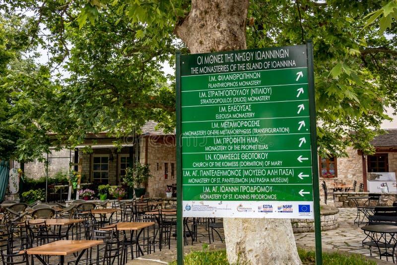 Informationen, Ioannina-Insel, Griechenland lizenzfreie stockfotografie