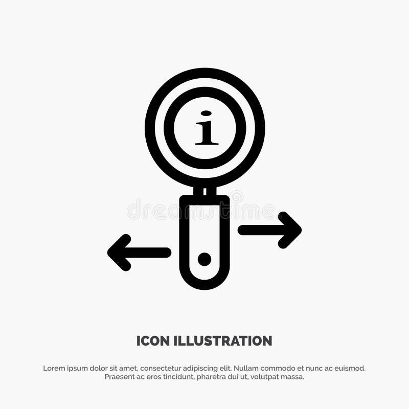 Informationen, Informationen, lautes Summen, Suchlinie Ikonen-Vektor stock abbildung