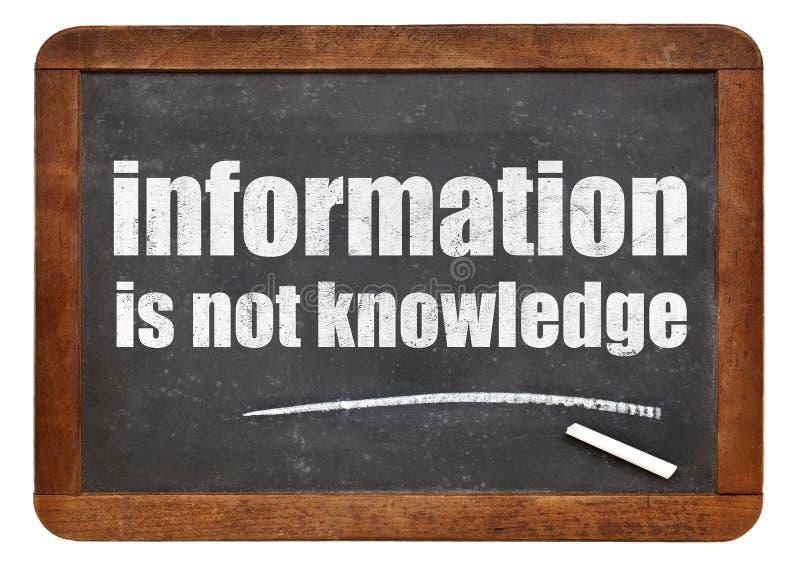 Informationen sind nicht Wissenszitat lizenzfreies stockbild