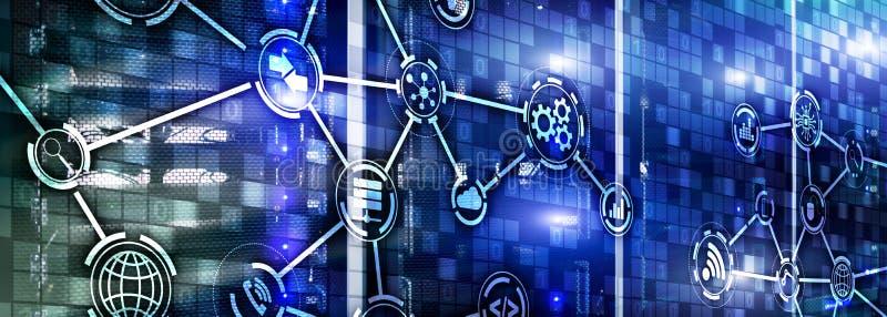 Informationen und Telekommunikationstechnikkonzept Diagramme mit Ikonen auf Serverraumhintergr?nden lizenzfreie abbildung
