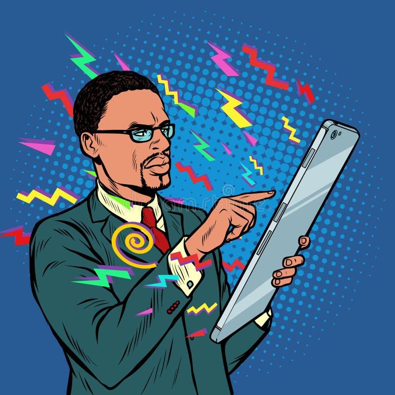 Informationen vom Internet Afrikanischer Gesch?ftsmann und Smartphone mit Gro?leinwand stock abbildung