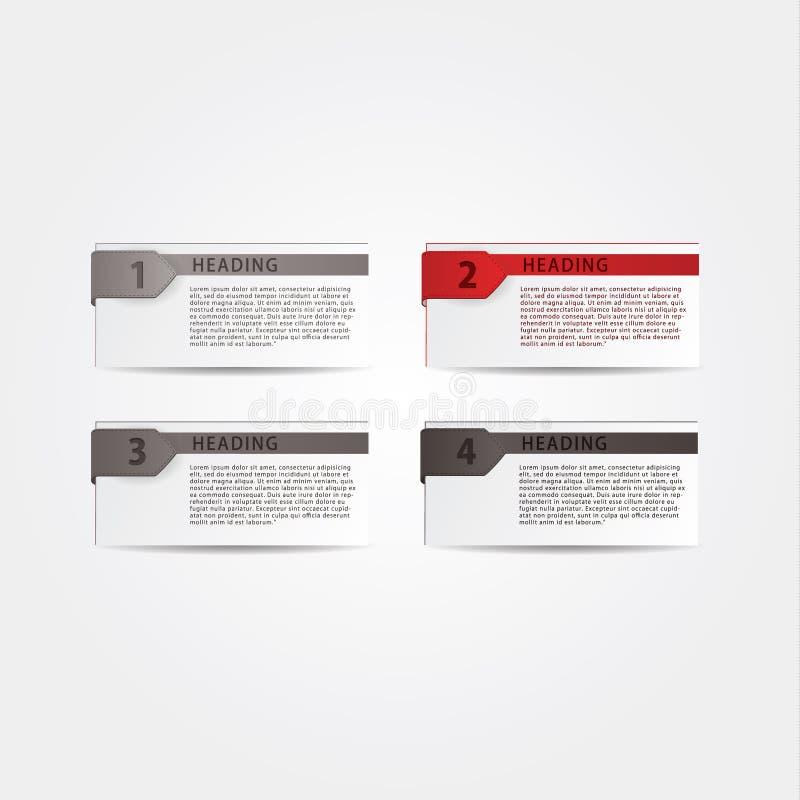 4 Informationgraphikautos in den verschiedenen Farben. Vier Aufkleber, Wahlen oder vektor abbildung