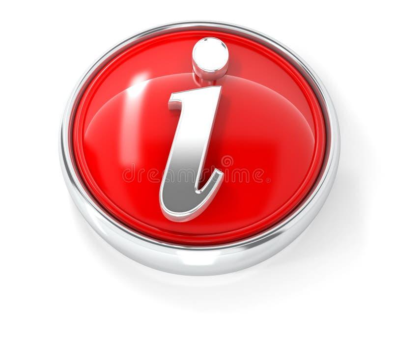 Informationicon op glanzende rode ronde knoop stock illustratie