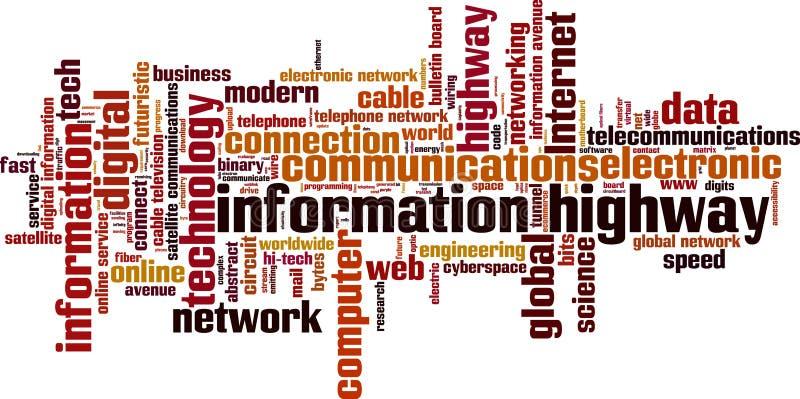 Informations-Highway Wortwolke lizenzfreie abbildung