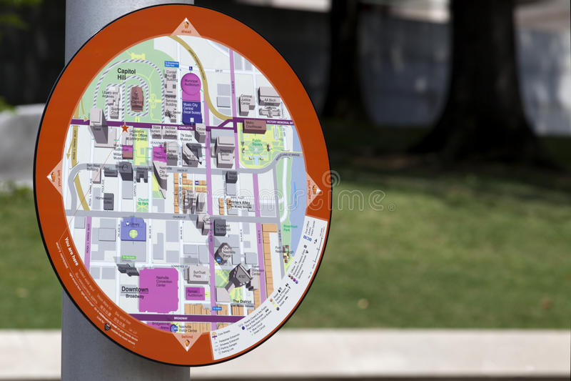 Informations-Karte - Nashville Tennessee (Stadtzentrum) stockbild