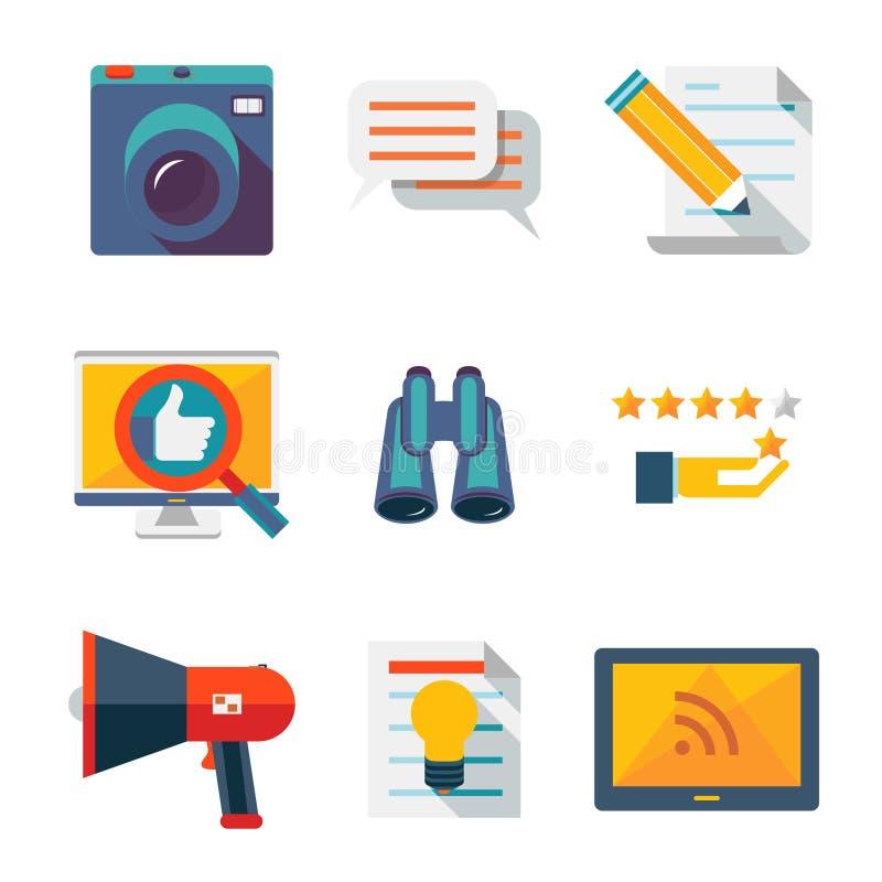 Informations- och massmediarengöringsduksymboler royaltyfri illustrationer