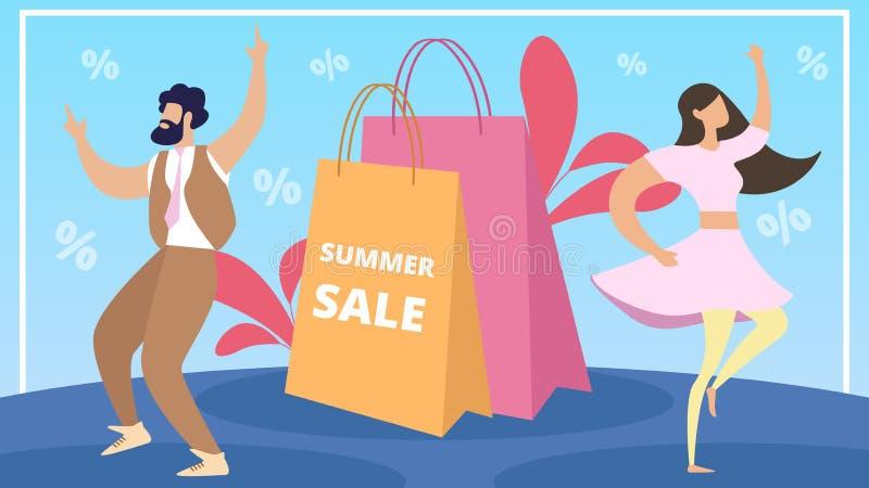 Informations-Plakat-Sommerschlussverkauf-Beschriftungs-Karikatur stock abbildung