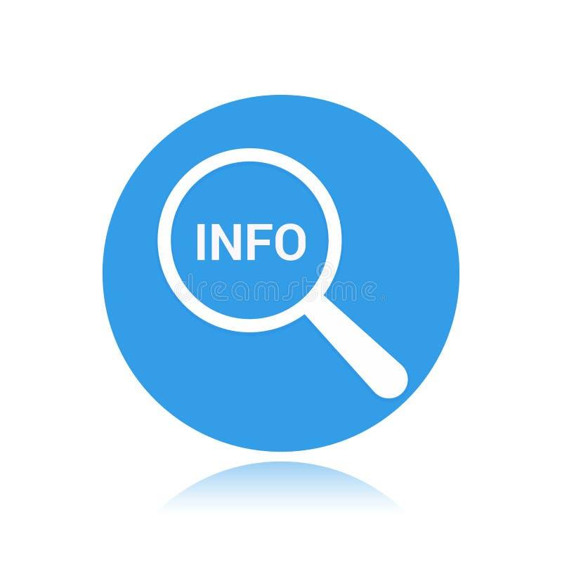 Informationsbegrepp: Förstorande optiskt exponeringsglas med information om ord stock illustrationer