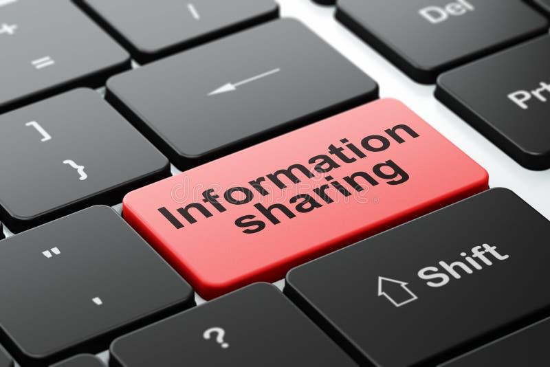 Informationsbegrepp: Information som delar på bakgrund för datortangentbord stock illustrationer