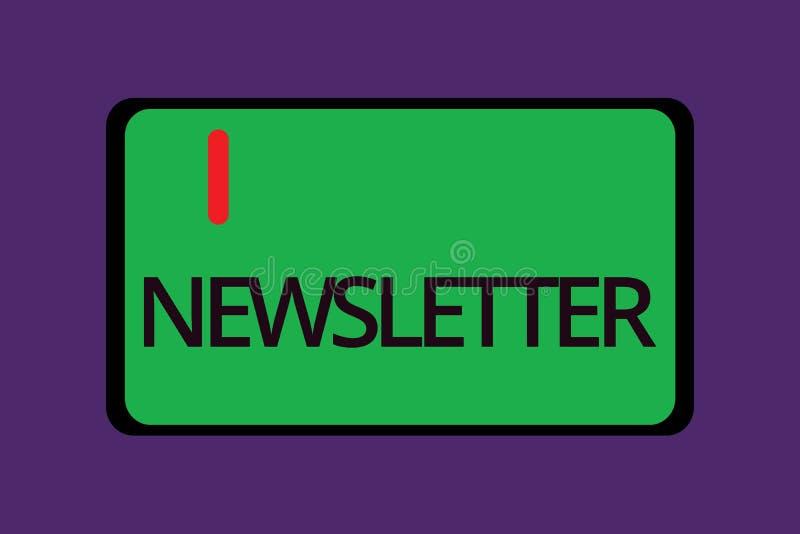 Informationsblad för textteckenvisning Begreppsmässig fotoinformation som överförs periodvis till den prenumererade medlemnyhetsr royaltyfri illustrationer