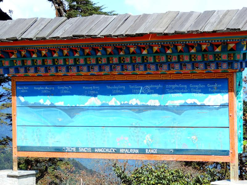 Informationsbräde på restaurangen på det Dochula passerandet, Bhutan royaltyfri bild