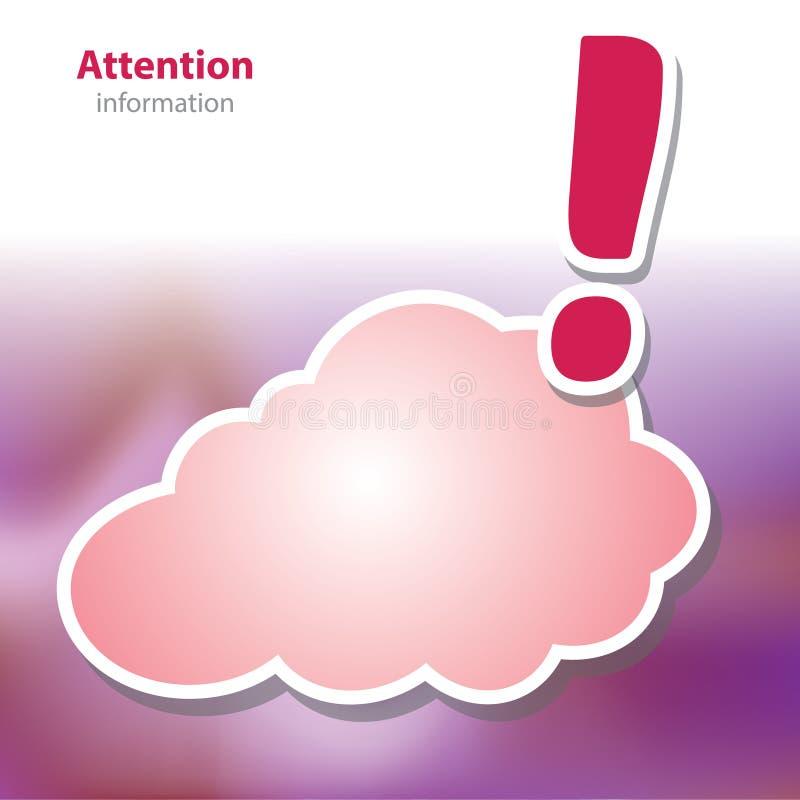 Informationsbräden - akta sig varning - symbolmoln - tom backg royaltyfri illustrationer