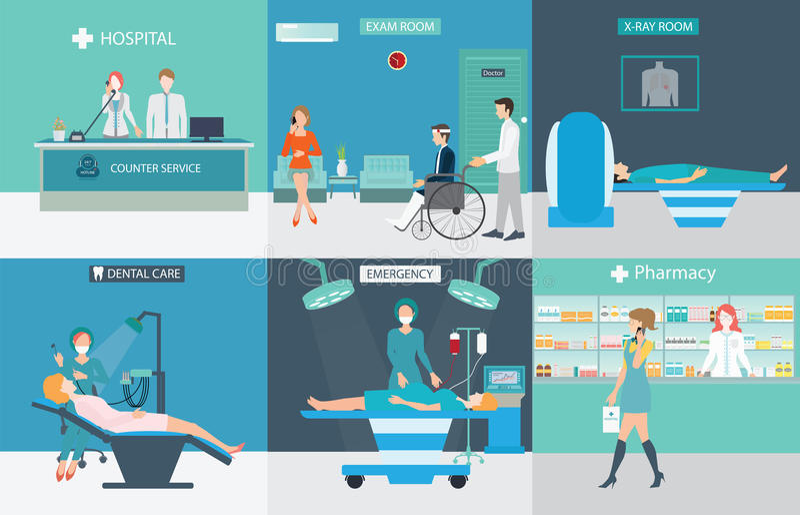Informationsdiagram av medicinsk service med doktorer och patienter vektor illustrationer