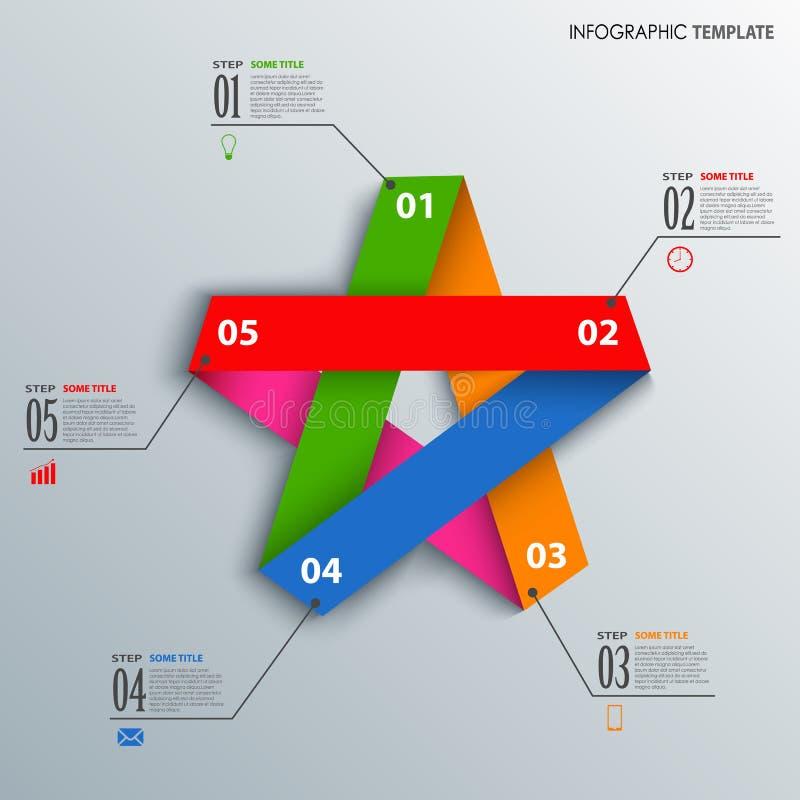 Informationsdiagram med den färgrika vikta pappers- stjärnamallen vektor illustrationer