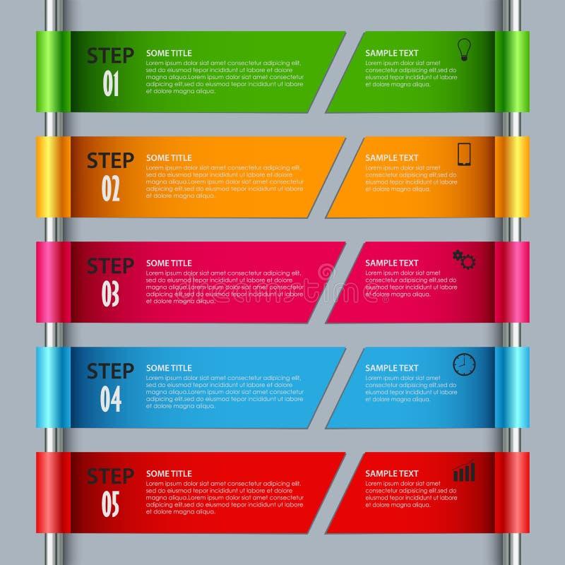 Informationsdiagram med kulöra designband i rollen stock illustrationer