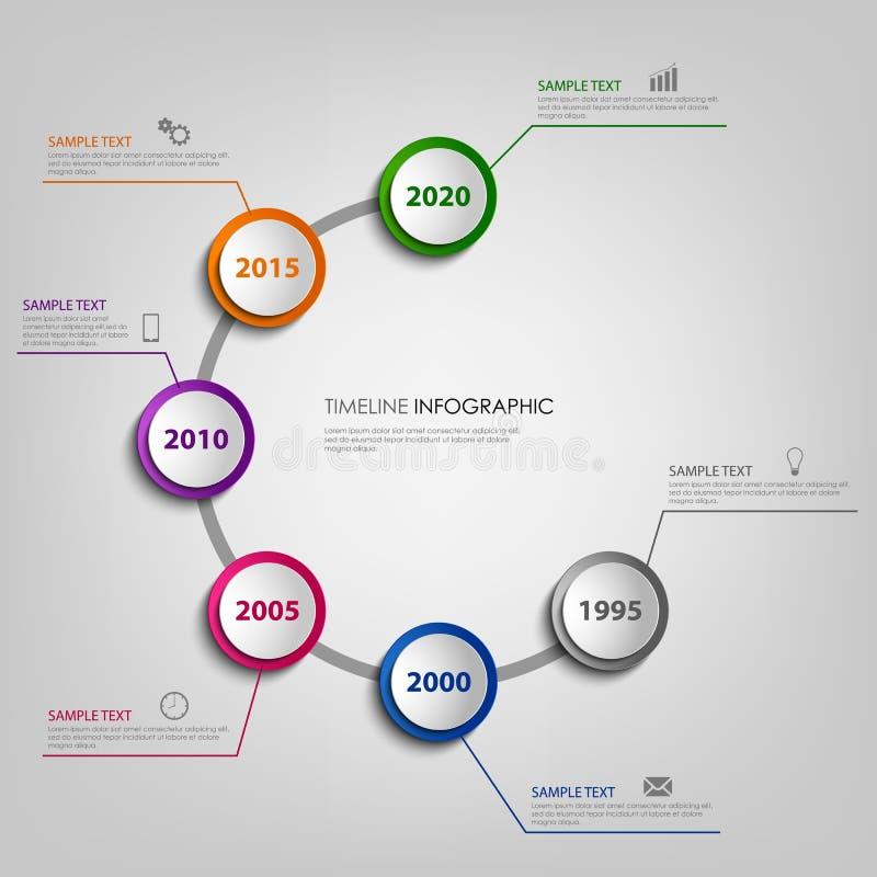 Informationsdiagram om tidslinje med kulöra pekare i spiral royaltyfri illustrationer