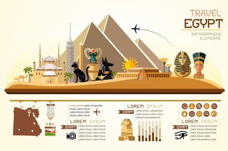 Informationsdiagram reser och designen för den gränsmärkeEgypten mallen stock illustrationer