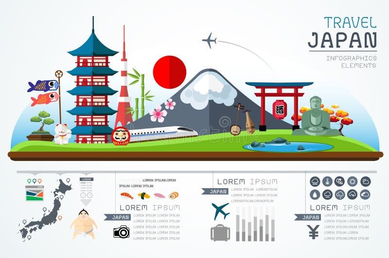 Informationsdiagram reser och designen för den gränsmärkeJapan mallen stock illustrationer