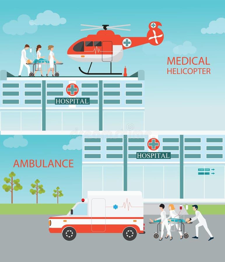 Informationsgraphik von Hubschrauber und von Ambulan Zerhacker des medizinischen Notfalls lizenzfreie abbildung