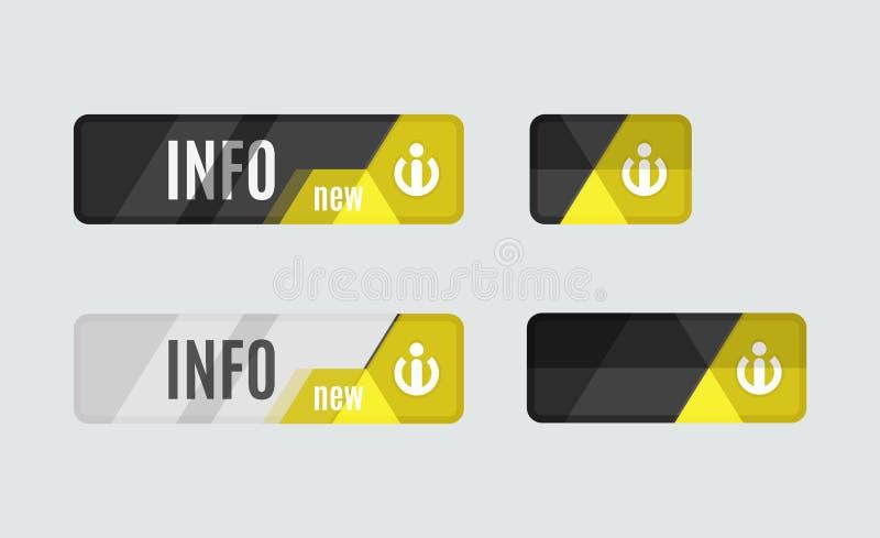Informationsknapp - informationsteckensymbol vektor illustrationer