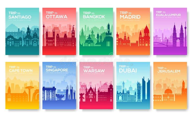 Informationskort om lopp Landskap mallen av flyear, tidskrifter, affischer, bokomslag, baner Land av Chile vektor illustrationer