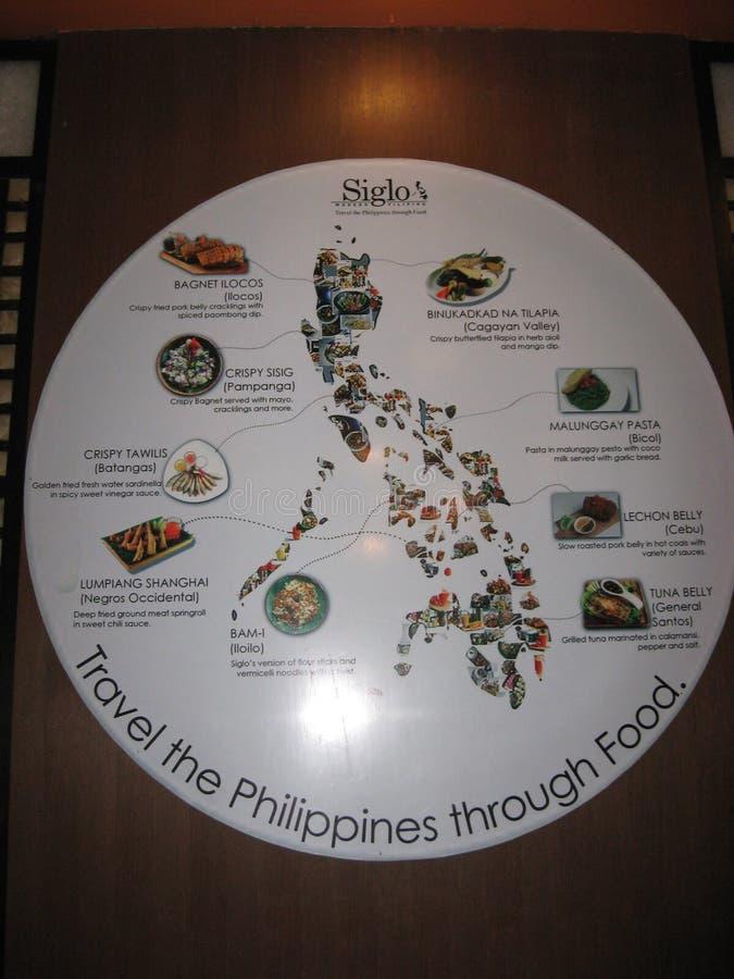 Informationsplakat auf philippinischer Nahrung in Tagaytay, Philippinen stockbild