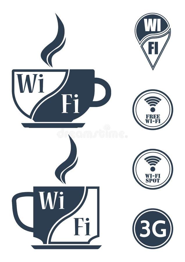 Informationsplattor, markörer för internetkaféer, Wi-Fi accesspunkter, område för täckning 3G, navigering undertecknar stock illustrationer