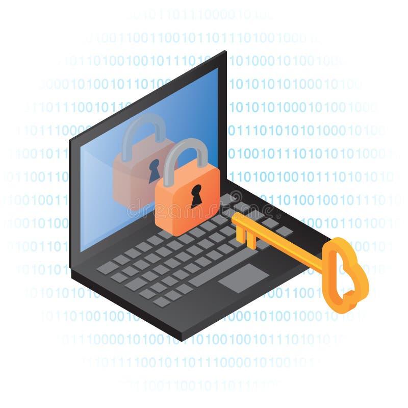 informationssäkerhet om dator stock illustrationer