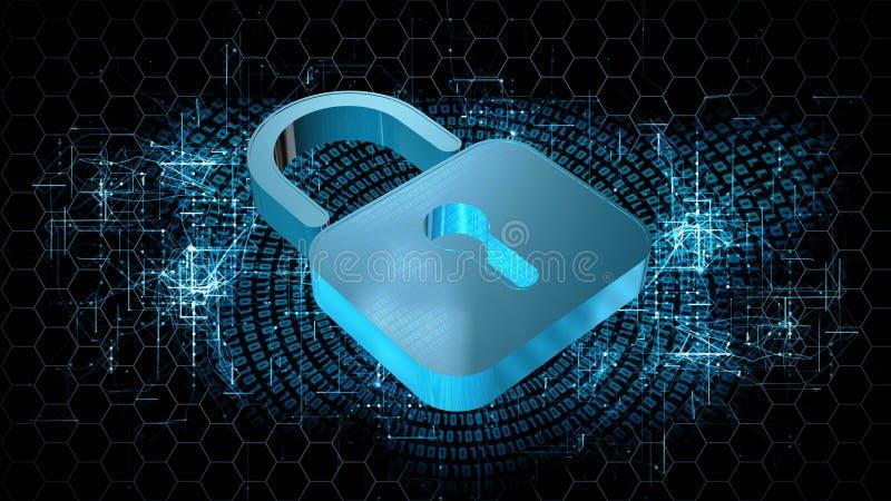 Informationsschutz und Internetsicherheit - geschlossenes Vorhängeschloß auf digitalem Hintergrund lizenzfreie abbildung
