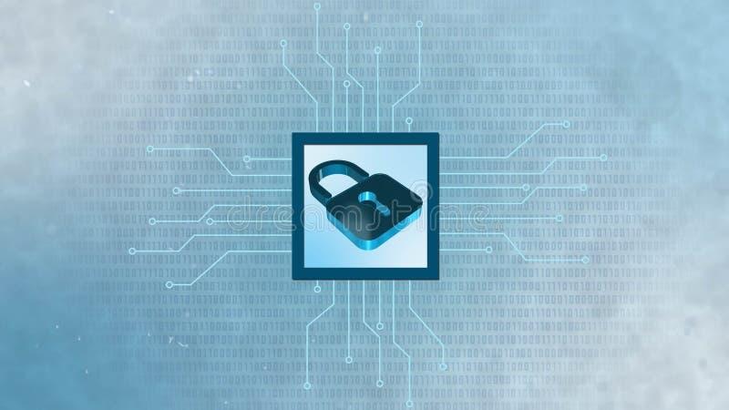 Informationsskydd och cybersäkerhet - stängd hänglås på digital bakgrund vektor illustrationer