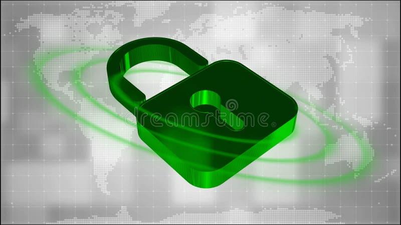 Informationsskydd och cybersäkerhet - stängd hänglås på digital bakgrund royaltyfri illustrationer