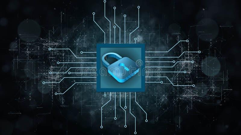 Informationsskydd och cybersäkerhet - stängd hänglås på digital bakgrund stock illustrationer