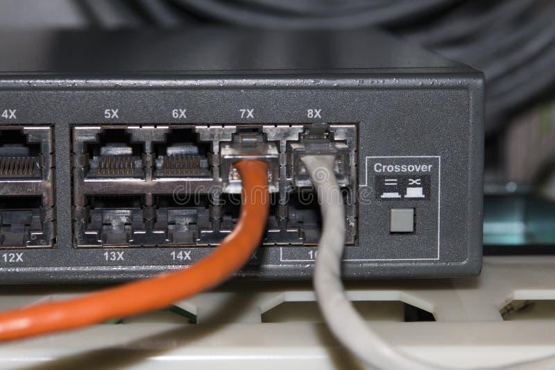 Informationstechnologie-Computernetzwerk, Telekommunikations-Ethernet-Kabel stockbild