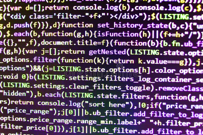 Informationstechnologie-Websitekodierungsformate für Webdesign Software-Quellcode Notizbuch-Nahaufnahme-Foto stockfotos