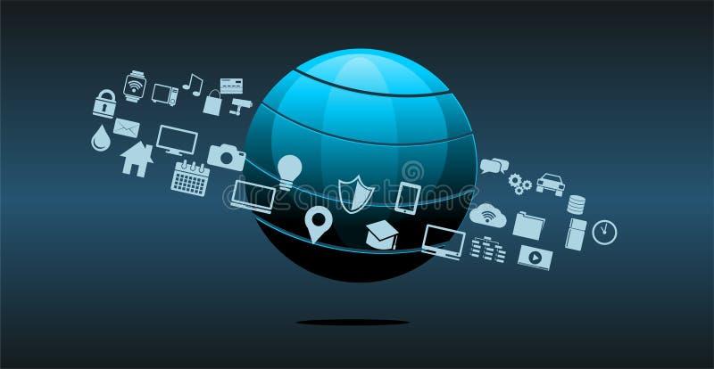 Informationsteknik- eller teknologiinnovationabstrakt begreppbakgrund stock illustrationer