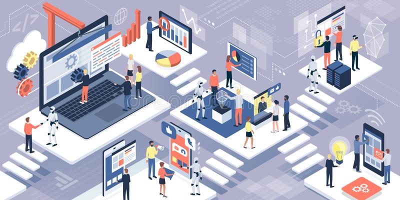 Informationsteknik, kommunikation och AI vektor illustrationer