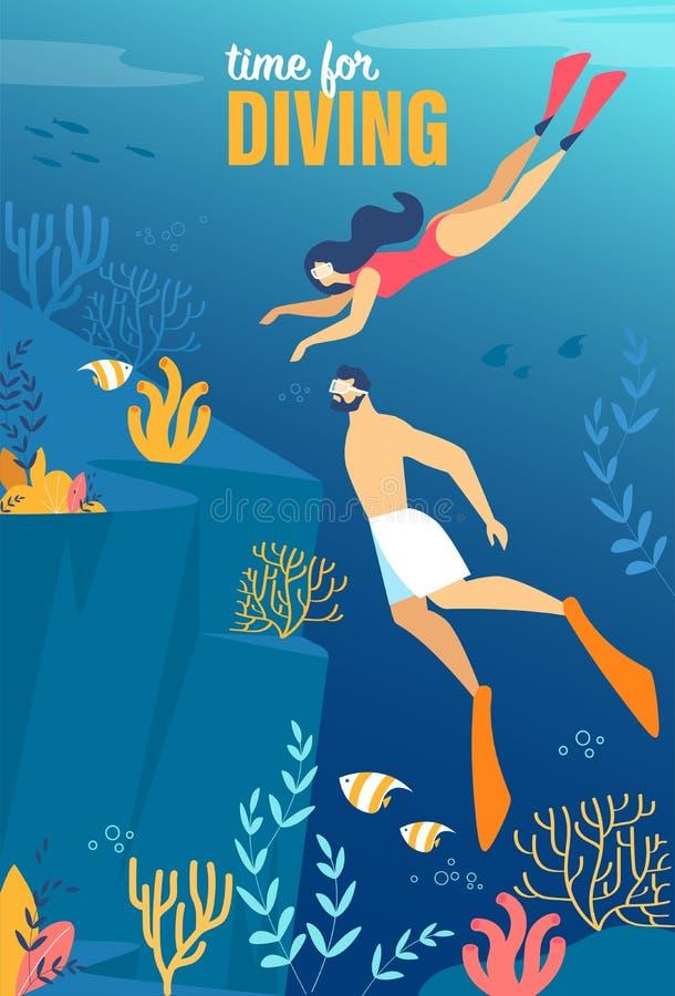 Informativ affischinskrift Tid för att dyka royaltyfri illustrationer