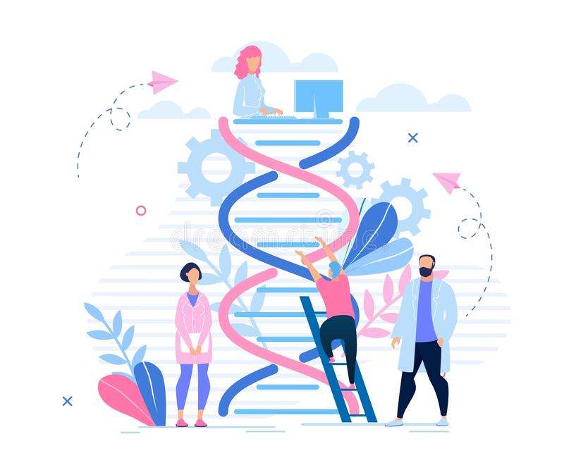 Informativ tecknad film för genetisk forskning för affisch royaltyfri illustrationer