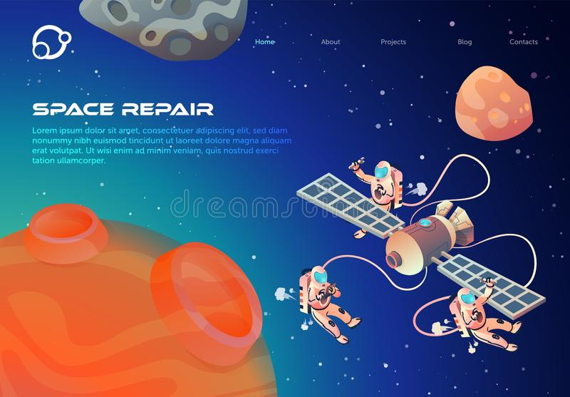 Informative Flyer Space Repair Lettering Cartoon. Cosmonauts in Outer Space Repair Satellite. Closeup Red Planet on Background Outer Space Astronauts Fly Near stock illustration