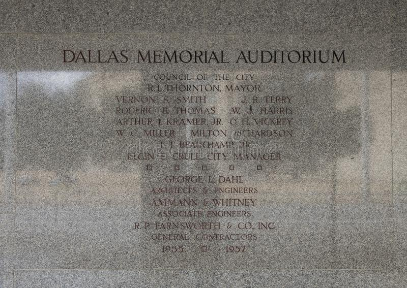 Informative Wall etching near entrance to Dallas Memorial Auditorium royalty free stock images