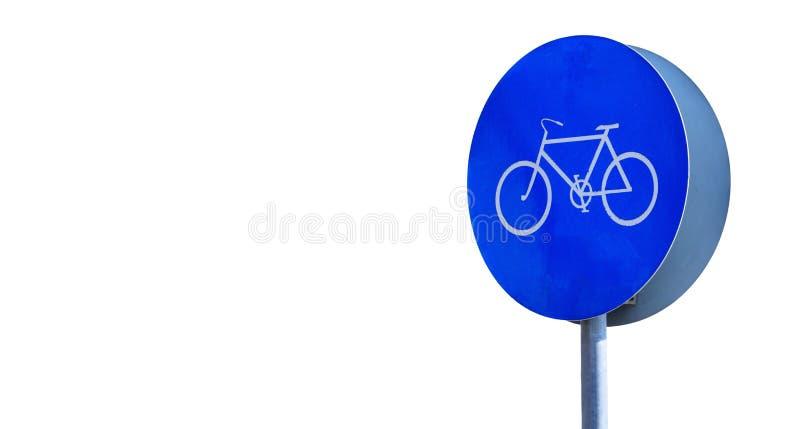 Informativt cykeltecken att låter endast cyklar Vit bakgrund, utrymme för text, baner, slut upp royaltyfri foto