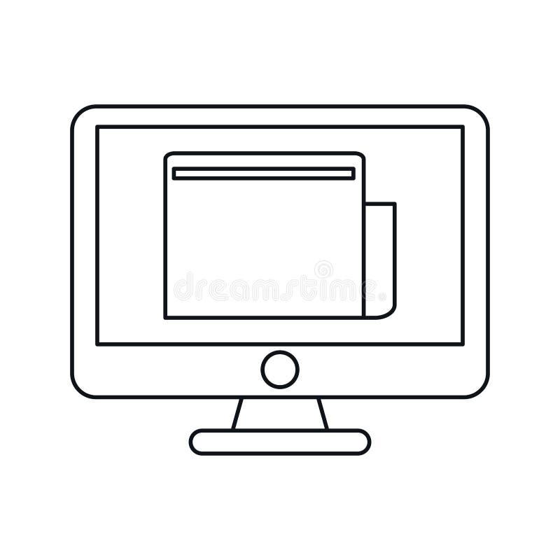 Informatyka dokumentu pracy cyfrowy kontur ilustracji
