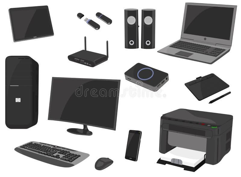 Informatyki ikony set, komputerowa gadżet kolekcja, wektor kreśli, logo ilustracje, przyrządu koloru realistyczni piktogramy ilustracji