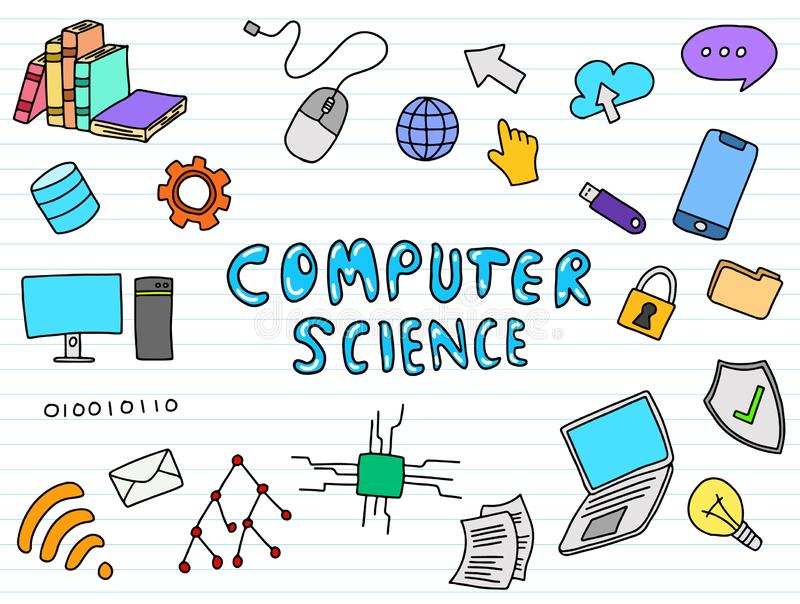 Informatyki inżynierii edukacji doodle sztuka z koloru colour folował zabawy stylową wektorową ilustrację royalty ilustracja