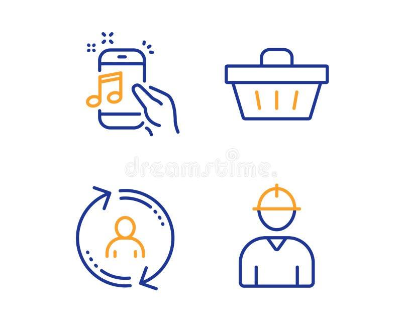Informazioni di utente, telefono di musica ed insieme delle icone del cestino della spesa Ingegnere Sign Aggiorni il profilo, il  illustrazione di stock
