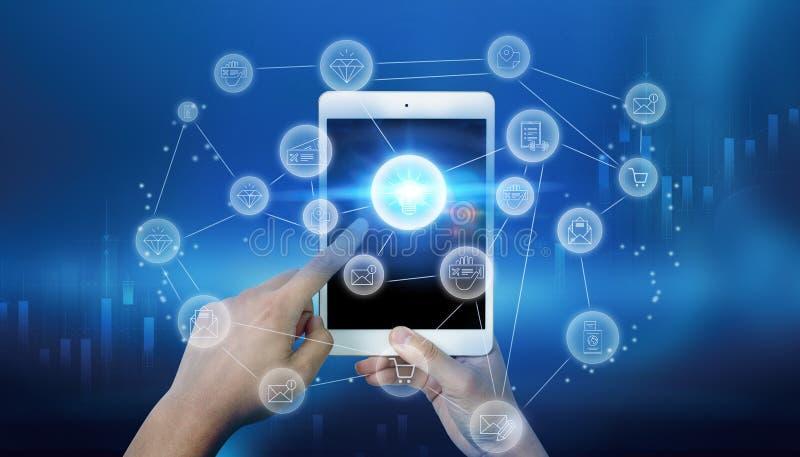 Informazioni olografiche di tecnologia del telefono cellulare illustrazione di stock