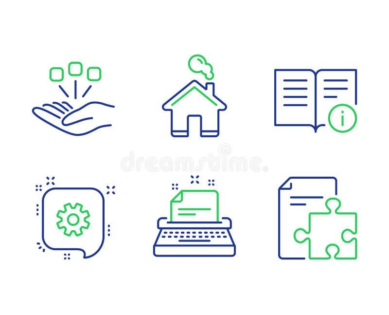 Informazioni tecniche, set di icone Cogwheel e Home Segnali di consolidamento, macchina da scrivere e strategia Vettore illustrazione vettoriale